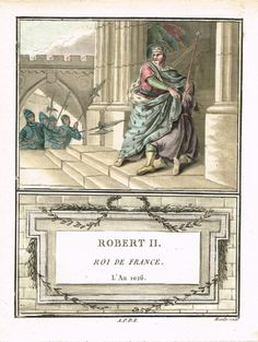 Robert II - Roi de France - l'An 1026 - aquatinte par Mixelle - MAS Estampes Anciennes - Antique Prints since 1898