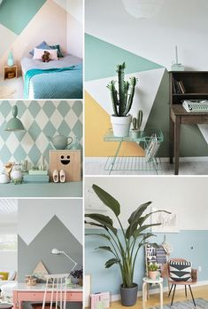 photo photo The post photo & Walls appeared first on Geometric paint . Bedroom Wall, Kids Bedroom, Half Painted Walls, Wall Design, House Design, Diy Projects On A Budget, Room Wall Painting, Favorite Paint Colors, Creation Deco