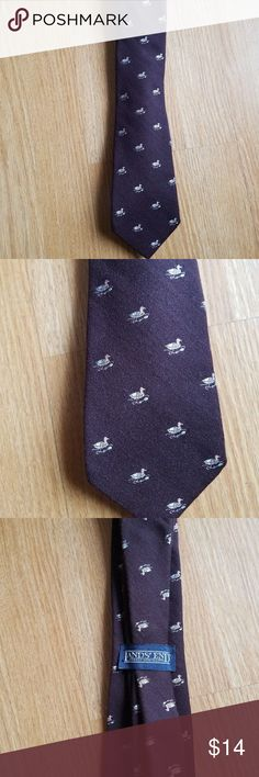 Vintage Men's Tie Wool Land's End Brown Ducks Vintage Men's Tie Wool Land's End Brown Ducks. Great for Father's day for dads, grandfather's,  etc... Lands' End Accessories Ties