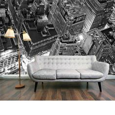 Penthouse View Mural - An enhanced black and white photo image of a New York city skyline from above.