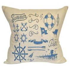 Cotton and linen pillow with a nautical pier motif.    Product: PillowConstruction Material: CottonColor: NaturalFeatures:  Knife edgeInsert included Dimensions: 20 x 20Cleaning and Care: Dry clean only