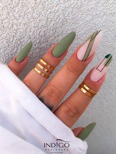 Matte Green Nails, Green Nail Art, Black Acrylic Nails, Almond Acrylic Nails, Best Acrylic Nails, Black And Nude Nails, Almond Shape Nails, Summer Acrylic Nails, Yellow Nails Design