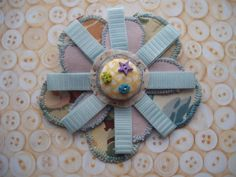 layered textile flower corsage by maxollieandme on Etsy, £5.50