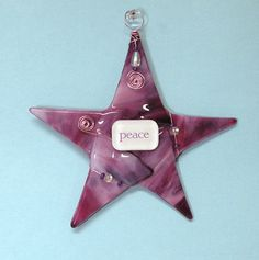 SPECIAL OFFER: Use coupon code PINCRAZY10 for 10% off!   Fused Glass Christmas Star Ornament/ PEACE by SusanFayePetProjects
