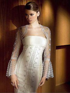 Exotic Beach Wedding Dresses | Exotic Embroidery Sheath Wedding Dress Attaching Jacket and Head Veil
