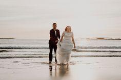 Ligia and Beni's fun and full of emotion couple's trash the dress session at the amazing Glassilaun beach Atlantic Way in Connemara at magical golden hour. Irish Beach, Connemara, Beach Weddings, Dublin, Ocean, Couple Photos, Couples, Wedding Dresses, Photography
