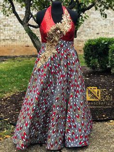 RED SOIRÉE Halter Neck Ball Gown, African Wax Print Dress, Ankara Dress, Kitenge Dress, Sku APD 1010
