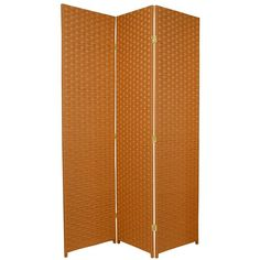 6ft tall woven fiber room divider screen in orange rust