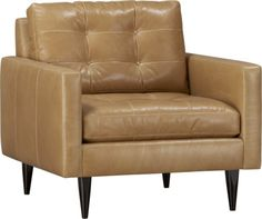 2 of these - Chocolate Leather, Petrie Leather Chair  | Crate, to go with the stock color of the Taraval couch.