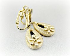 Vintage CROWN TRIFARI Earrings, Gold Flower Earrings, Long Gold Teardrop Earrings, Gold Drop Clip-on Earrings, 1960s Mad Men Costume Jewelry by RedGarnetVintage, $18.00