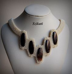Beige/Brown Statement Beadwoven Bib Necklace, Beaded High Fashion Jewelry, Women's Beadwork Accessory, Gift for Her, OOAK - Daily Good Pin Beaded Jewelry Designs, Handmade Jewelry, Seed Bead Necklace, Beaded Necklace, Seed Beads, Beaded Rings, Beaded Bracelets, Ideas Joyería, Geometric Necklace