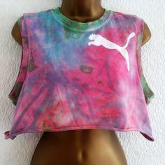 d0b6087559ab5 Vintage Acid Wash Tie Dye Puma Crop Top T-Shirt Vest M Hipster Ibiza 8 10 12