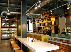 Small restaurant interior design- we wouldn't have the table, but maybe the counter/order area would be open like that