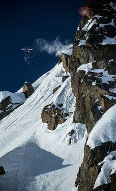 Sick backflip of SCOTT athlete Seb Michaud at the FWT in Chamonix. Photo: Dom Daher