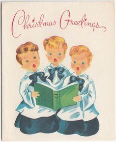 Vintage Greeting Card Christmas Choir Boys Singing Hawthorne-Sommerfield r241