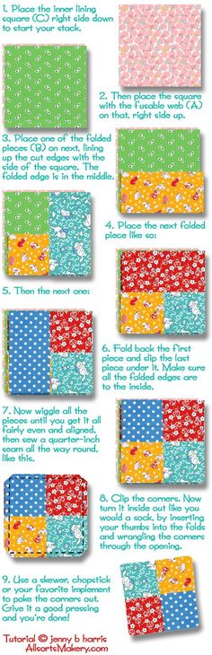 "Crisscross-coasters. 6 4.5""x4.5"" fabric squares"