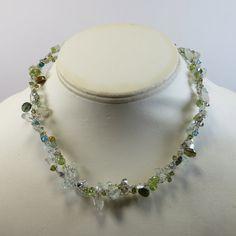 Green Gemstone Sterling Necklace, Crocheted Sterling Necklace w 925 Pearl Box Clasp & Aquamarine Peridot Moonstone Rock Crystal Swarovski