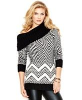 GUESS Cowl-Neck Striped Tunic Sweater