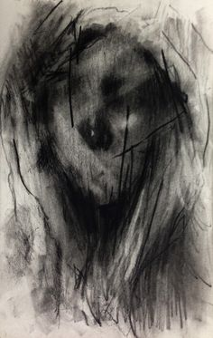 (D67) untitled conte on paper 23.8 x 15.4 cm 2013 by KwangHo Shin, via Behance