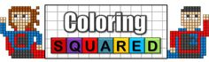 Coloring Squared- a new series of coloring pages that seek to practice math concepts while having fun with cool pixel art puzzles.