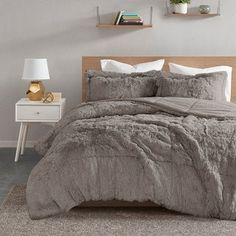 Intelligent Design Leena Shaggy Faux Fur Comforter Set Option (King - Cal King - Grey), Gray, ID-Intelligent Designs