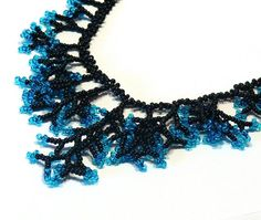 #necklace #beaded #black #blue