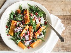 Butternut Squash & Pomegranate Salad with Tahini Dressing   31 Delicious New Ways To Cook Butternut Squash