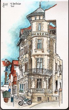 Beautiful waterfront building in Saint-Jean-de-Luz situated in the corner of Promenade Jacques Thibaud and Rue Coutarde. Pencil and ink sketch done on site and later finished with watercolors.