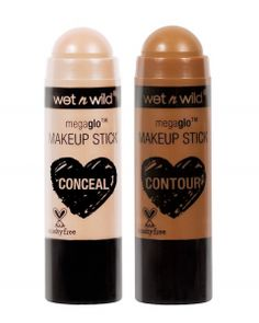 wet n wild MegaGlo Makeup Stick Conceal and Contour. In one swipe of a stick, you can get catwalk-ready cheekbones, naturally flushed cheeks or an insanely glowy complexion. Wild Deal save more up to off! Highlighter Makeup, Contour Makeup, Contouring And Highlighting, Makeup Dupes, Makeup Remover, Drugstore Contouring, Contour Face, Nude Makeup, Glowy Makeup