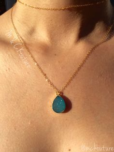 Dainty druzy necklace. Women's jewelry. Sold by https://squareup.com/store/mckouture