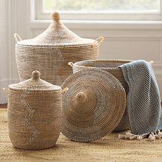 Senegalese Storage Baskets - White/Light Peach | Serena & Lily