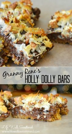 Holly Dolly Bars. My Great Grandmothers recipe! We make this yummy dessert at Christmas time every year! Great for gifting to friends and neighbors! So easy and so special! Life Well Sweetened Blog