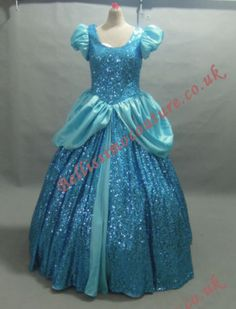 Blue taffeta and high quality small sequins shinning fabric. Dress can be made in different colour, and change different details. Dress requires professional ironing before use. Buy it now price is only for size 18 to size Princess Aurora Costume, Disney Princess Outfits, Rapunzel Costume, Rapunzel Dress, Cinderella Costume, Elsa Dress, Cinderella Dresses, Disney Dresses, Princess Clothes