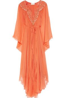 How fab is this summer kaftan by Temperley London? $2,700.00 www.net-a-porter.com - love the color, perfect for the beach day or night!