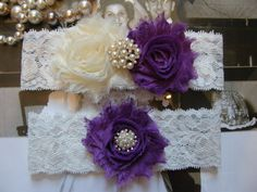 Ivory & Purple Wedding Garters / Garter / by FalabellaBridal, $19.80