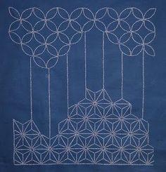 Sashiko embroidery... looks like a stylized forest.