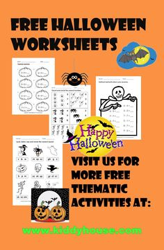 Free Halloween Worksheets - kiddyhouse.com/Themes/halloween/halloweenprintables.html