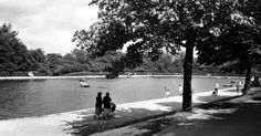 Old photograph of the boating pond in Springburn Park in Glasgow , Scotland . A Glasgow man named James Reid owned a large house and ground...