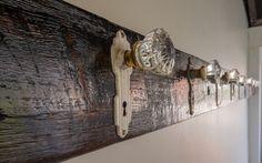 DIY Reclaimed Barn Beam with Antique Doorknobs coat rack