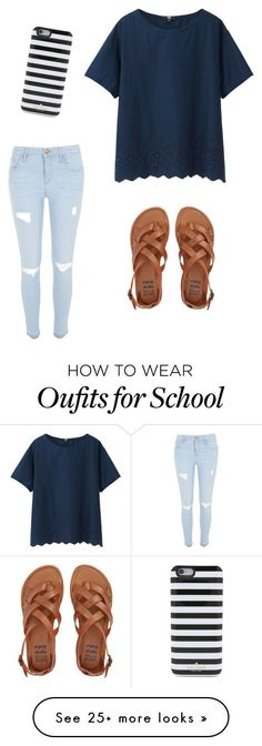 """Normal School Day"" by morgann-rowe on Polyvore featuring River Island, Kate Spade, Billabong and Uniqlo"