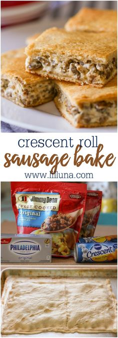 Crescent Roll Sausage Bake - only 3 ingredients!! It has a crispy crescent outer layer filled with your favorite sausage and cream cheese. It's the perfect breakfast recipe! Vegetarian Breakfast, Sausage Breakfast, Breakfast Bake, Best Breakfast, Make Ahead Breakfast Burritos, Frozen Breakfast, Christmas Breakfast, Apple Pie, Crockpot