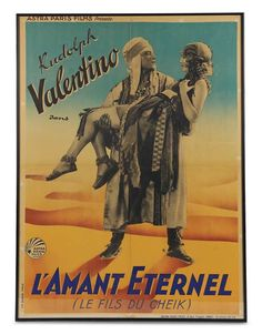 """Vintage Film Poster for the French Market of """"The Son of the Sheik"""" circa 1926. http://Theriaults.com/"""