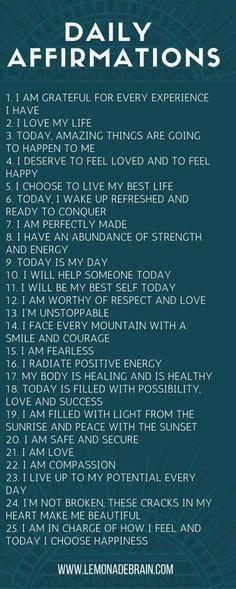 Affirmations for Success - Lemonade Brain - Self Love Quotes - # Positive Affirmations Quotes, Affirmations For Women, Self Love Affirmations, Morning Affirmations, Words Of Affirmation, Law Of Attraction Affirmations, Positive Quotes, Affirmations Success, Healthy Affirmations