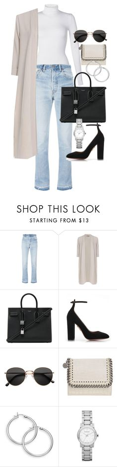 """""""Untitled #22286"""" by florencia95 ❤ liked on Polyvore featuring Wolford, RE/DONE, Boohoo, Yves Saint Laurent, Aquazzura, H&M, STELLA McCARTNEY and Burberry"""