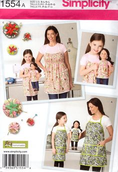 "Simplicity 1554 Free Us Ship Craft Sewing Pattern Studio Cherie Matching Mother Daughter Doll Aprons Uncut New 18"" American Girl Pin Cushion by LanetzLiving on Etsy"