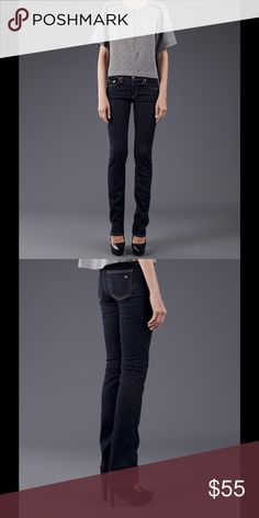 "rag & bone ""The Cigarette"" Straight Leg Jeans Golden top stitching accents the figure-flattering silhouette of stretch-denim straight-leg jeans in a versatile dark wash (Heritage). 33"" inseam; 14"" leg opening; 9"" front rise; 14"" back rise (from size 29). 98% cotton, 2% polyurethane. Made in USA. Excellent used condition. rag & bone Jeans"