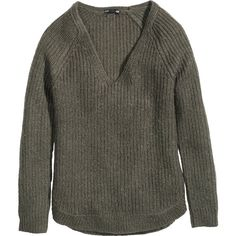 H&M Rib-knit jumper (1.115 RUB) ❤ liked on Polyvore featuring tops, sweaters, shirts, h&m, jumper, khaki green, khaki shirt, green sweater, v neck jumper and shirt sweater