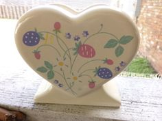 Vintage 1986 Auntie Em Collection heart shaped napkin holder, made in the USA, gift for her, home decor, wedding gift by Morethebuckles on Etsy