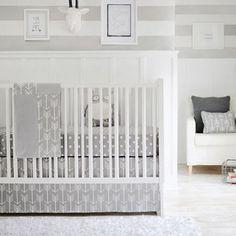 Gray Arrow Crib Bedding | Wanderlust Collection in Gray