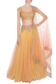 Best indian wedding dresses Buy Yellow net lehenga set by Anushree Reddy at Aza Fashions Do It Yours Best Indian Wedding Dresses, Indian Gowns Dresses, Indian Fashion Dresses, Dress Indian Style, Indian Designer Outfits, Frock Fashion, Net Lehenga, Lehenga Choli, Lehenga Style